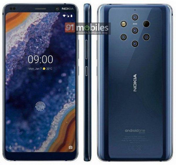 В Сети появился пресс-рендер с изображением пятикамерного Nokia 9 PureView
